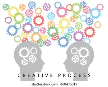 Creative Process Concept / Two head with ideas thinking about solution