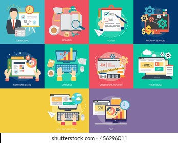 Creative Process Conceptual Design | Set of great flat icons with style long shadow icon and use for Business, Creative Idea, Concept, Marketing and much more