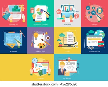 Creative Process Conceptual Design | Set of great flat icons design illustration concepts for Business, Creative Idea, Concept, Marketing and much more