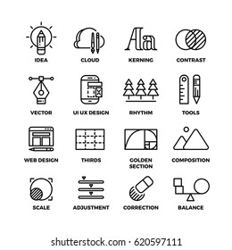Creative process and design sketch tools outline vector icons. Kerning and contrast ui ux design illustration
