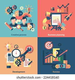 Creative process flat icons set with business planning development success isolated vector illustration