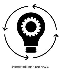 Creative process,  glyph icon idea generation
