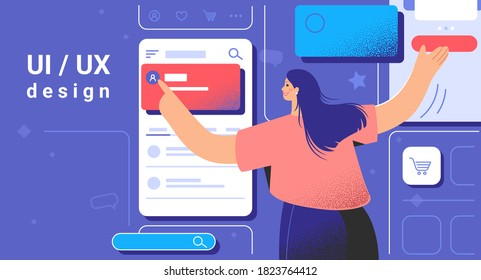 Creative process of graphic designer or web developer. Flat vector illustration of woman as ui ux designer placing banners and interface elements on mobile layout for user interactions prototyping