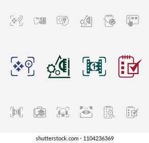 Creative process icon set and prototyping with sketchpad, testing and explore. Cinematography related creative process icon vector for web UI logo design.