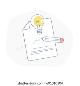 Creative Process, Ideas Generation or Creativity illustration concept. Sheet of paper, pencil and light bulb. Flat line symbol illustration, UX UI element for web and mobile design.