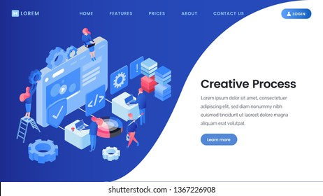 Creative process landing page isometric template. SEO, web design studio workers brainstorming, searching ideas 3D vector website homepage. App software developers, programmers coworking, illustration