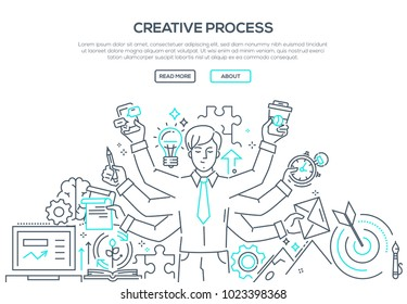 Creative process - modern line design style illustration on white background. Banner with heading, place for your text, information. An image of an inspired person, doing a lot of tasks simultaneously