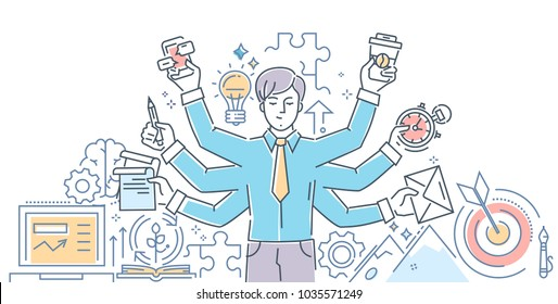 Creative process - modern line design style illustration on white background. Banner header for your website. An image of an inspired person, doing a lot of tasks simultaneously