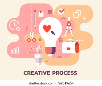 Creative process with office supplies concept on pink background with title. Vector color illustration of big light bulb, cup of coffee, pencil, stationery and icons. Flat style design for web, banner