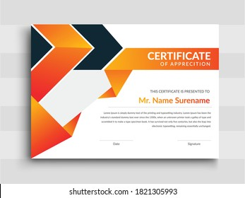 creative Professional Certificate Template Design for Print,Modern certificate template with blue certificate design,  horizontal Illustration in A4 size pattern.