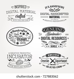 Creative Professional People Vector logo badges elements collection Icons Symbols Retro Labels Silhouettes