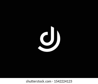 Creative Professional Trendy Letter DJ JD Logo Design in Black and White Color , Initial Based Alphabet Icon Logo