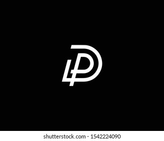 Creative Professional Trendy Letter DP PD Logo Design in Black and White Color , Initial Based Alphabet Icon Logo