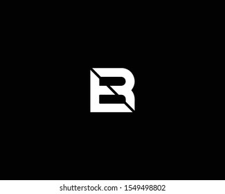 Creative Professional Trendy Letter ER BR Logo Design in Black and White Color , Initial Based Alphabet Icon Logo