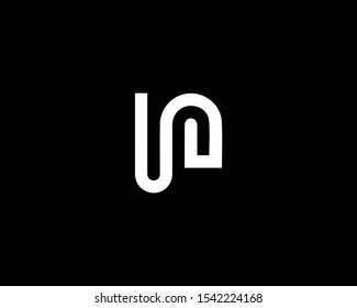 Creative Professional Trendy Letter UN NU Logo Design in Black and White Color , Initial Based Alphabet Icon Logo