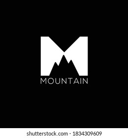 Creative Professional Trendy and Minimal Letter M with Mountain Logo Design in Black and White Color, Initial Based Alphabet Icon Logo in Editable Vector Format