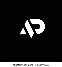 Creative Professional Trendy and Minimal Letter AD AP Logo Design in Black and White Color, Initial Based Alphabet Icon Logo in Editable Vector Format