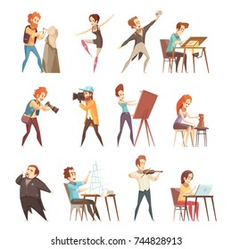 Creative professions people retro cartoon icons set with artist designer sculptor photographer actor dancer isolated vector illustrations