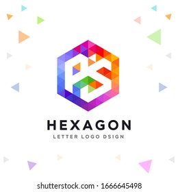 Creative PS Letter Logo Colorful Mosaic and Hexagon Pattern Icon Design template Element for Your Company Business