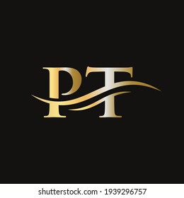 Creative PT letter with luxury concept. Modern PT Logo Design for business and company identity