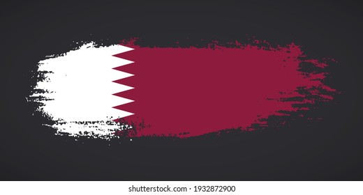 Creative Qatar country grungy brush flag for independence day