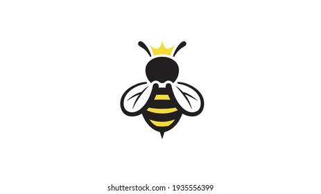 Creative Queen Bee Lines Logo Design Vector Illustration