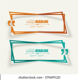 Creative Quotation Mark Speech Bubble. Quote sign icon. Modern block quote and pull quote design elements.