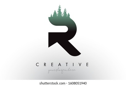 Creative R Letter Logo Idea With Pine Forest Trees. Letter R Design With Pine Tree on TopVector Illustration.