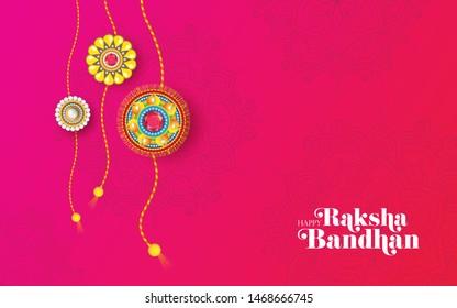 Creative Rakhi Festival Greeting Background Design with Creative Rakhi Illustration - Raksha Bandhan Greeting Background Design Template with Creative Rakhi Illustration