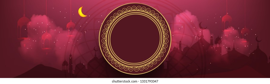 Creative Ramadan Kareem Mubarak Website header can be used for Promotion, banner , card with decorative festival frame and calligraphic text vector illustration