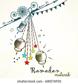 Creative Ramadan Mubarak, Vector Illustration based on Line Art pattern, doodle design hanging lamps with stars.