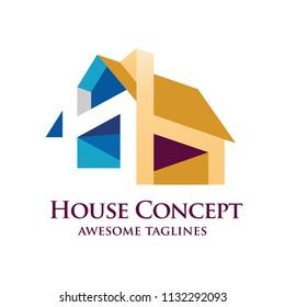 creative real estate building house 3d style logo vector