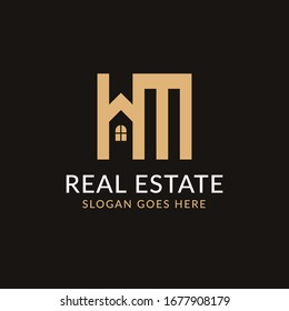 Creative real estate HM letter logo design. House, Property development, construction and building icon template. Isolated in dark background with gold color. Minimalist home vector in eps 10.