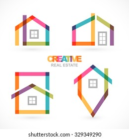 Creative real estate icons set.