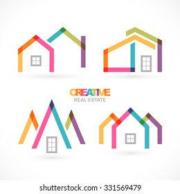 Creative real estate icons set.
