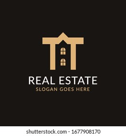 Creative real estate TT letter logo design. House, Property development, construction and building icon template. Isolated in dark background with gold color. Minimalist home vector in eps 10.