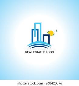 creative real estates sample logo vector illustration