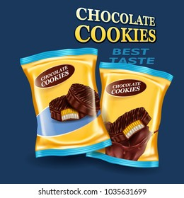 Creative realistic pack with chocolate cookies