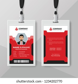 Creative Red ID card design template