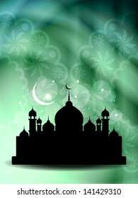 Creative religious eid background in green color. Vector illustration