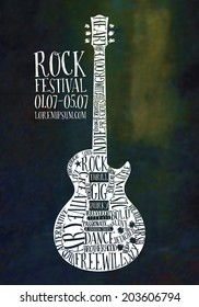 Creative Rock music poster template. Electric guitar decorated with words. Vector typography illustration.