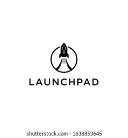 Creative Rocket Launch Fly UP Logo Design Vector Image