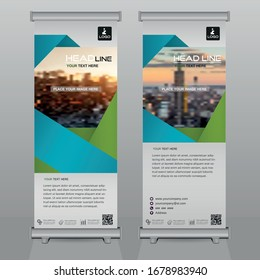 creative Roll up brochure flyer banner design template vector, abstract , modern & new x-banner, rectangle size.blue & green  colorful design.