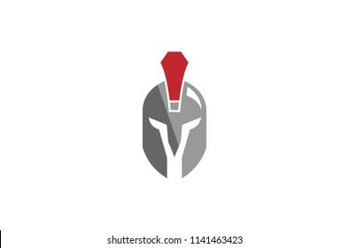 Creative Roman Warrior Helmet Logo Symbol Vector Design Illustration