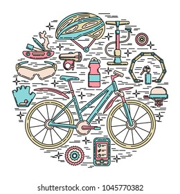 Creative round vector illustration of active lifestyle. Editable stroke design element. Perfect for sport club, bicycle rental and spare parts shop.