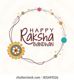Creative rounded frame decorated with beautiful rakhi on shiny background for Indian festival, Raksha Bandhan celebration.