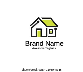 creative safety smart home logo,  security home automation technology logo