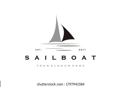 creative Sailboat logo design Vector template