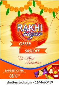 creative sale abstract or poster for Raksha Bandhan, Rakhi, with creative design illustration ,Raksha Bandhan Discount Offer.