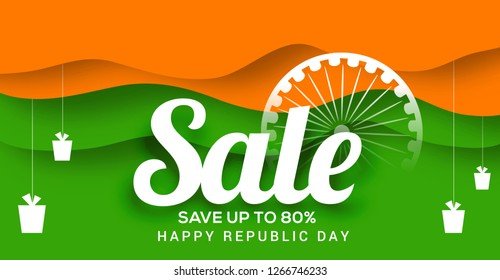 Creative sale banner or sale poster for celebration of Indian Republic Day